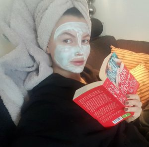home sick with a face mask on me
