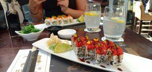 eating sushi at hugos lounge