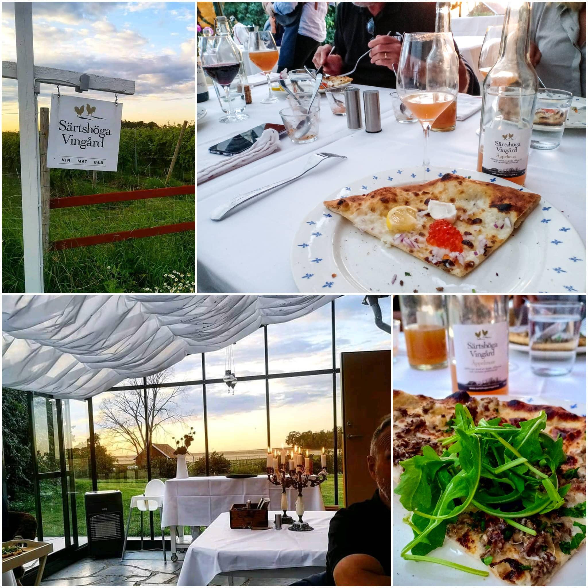 äta och dricka på vingård vid Omberg